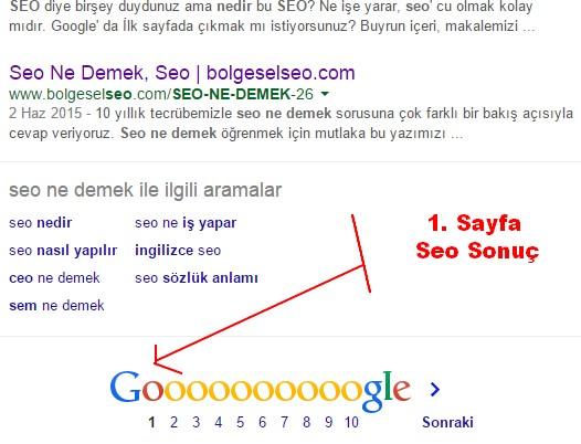 Seo Ne Demek Google Birinci Sayfa